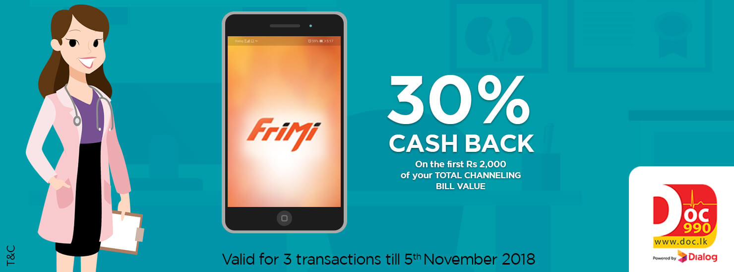 30% Cashback on Total Channeling bill value for Frimi payments